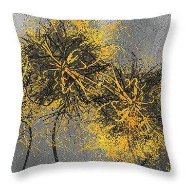 Throw Pillow featuring the painting Yellow Hymns - Yellow And Gray Modern Abstract Art by Lourry Legarde