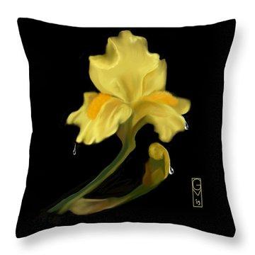 Yellow Iris Throw Pillow