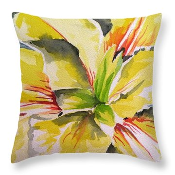 Yellow Iris Throw Pillow by Holly York