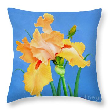 Throw Pillow featuring the painting Yellow Iris by Jimmie Bartlett