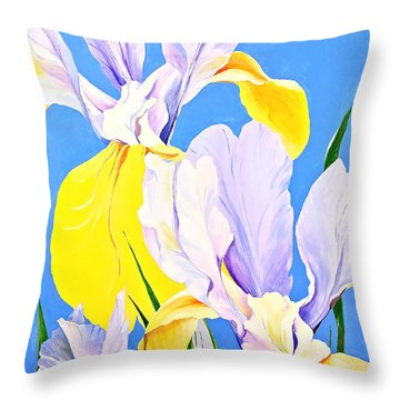 Yellow Irises-posthumously Presented Paintings Of Sachi Spohn  Throw Pillow