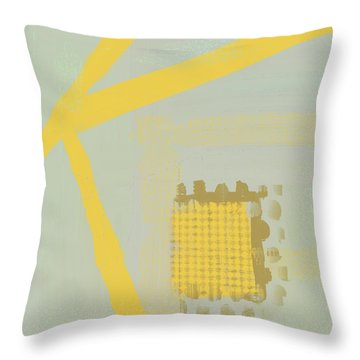 Throw Pillow featuring the mixed media Yellow Kay by Eduardo Tavares