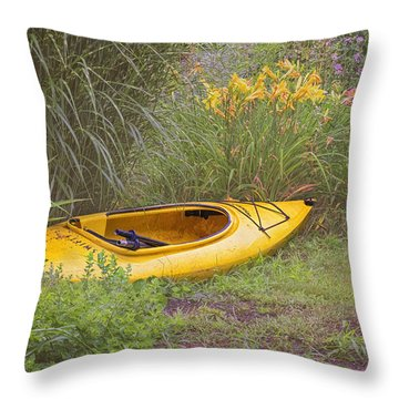 Yellow Kayak Throw Pillow by Tom Singleton
