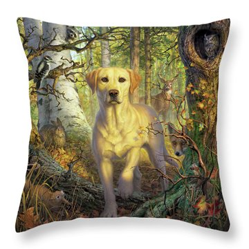 Yellow Lab In Fall Throw Pillow