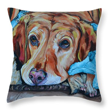 Throw Pillow featuring the painting Yellow Lab by Patti Schermerhorn