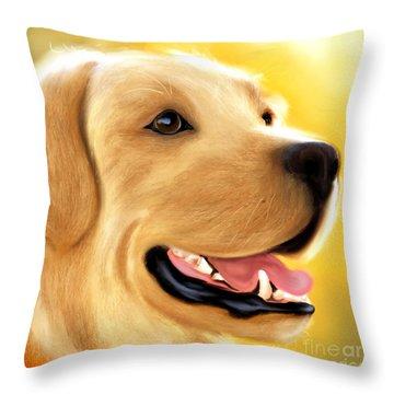 Yellow Lab Portrait Throw Pillow