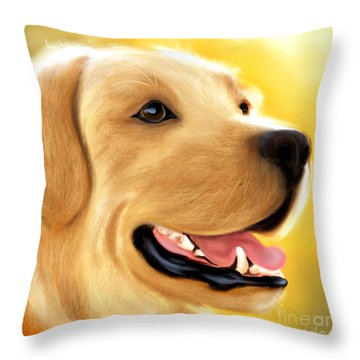 Yellow Lab Portrait Throw Pillow