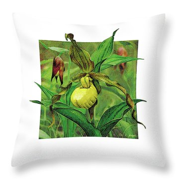 Yellow Lady Slipper Throw Pillow by JQ Licensing