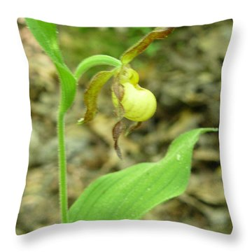 Throw Pillow featuring the photograph Yellow Lady-slipper by Linda Geiger