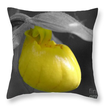 Yellow Lady Slipper Partial Throw Pillow