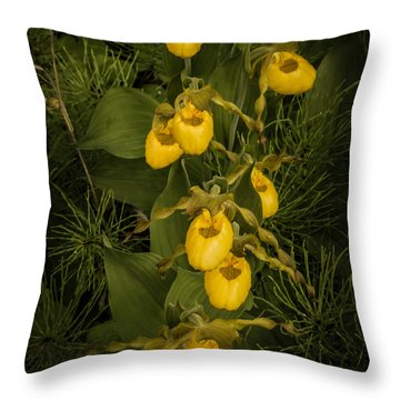 Yellow Lady Slippers Throw Pillow