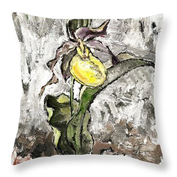 Yellow Lady's Slipper Throw Pillow
