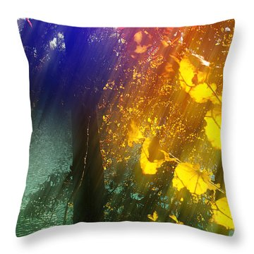 Yellow Leaf Along The Lake Throw Pillow by Kat Besthorn