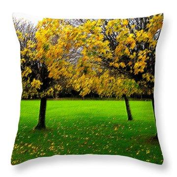 Yellow Leaves At Muckross Gardens Killarney Throw Pillow