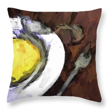 Yellow Lemon In A White Bowl With A Fork And A Wine Glass Throw Pillow