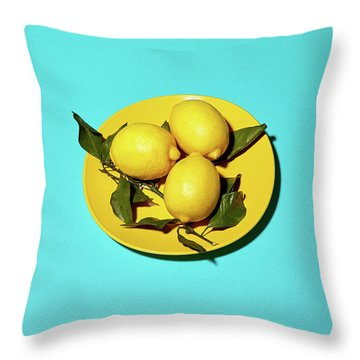 Yellow Lemons On Cyan Throw Pillow by Oleg Cherneikin
