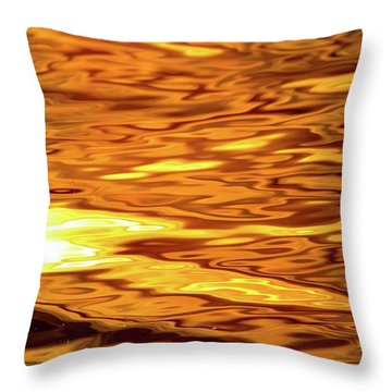 Yellow Light On Water  Throw Pillow