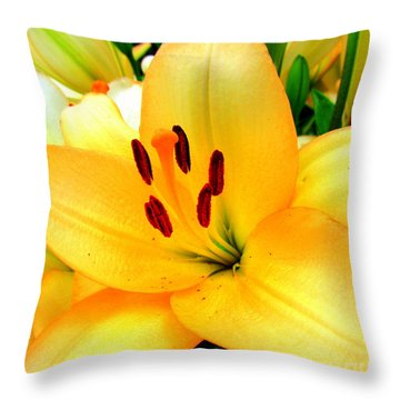 Throw Pillow featuring the photograph Yellow Lilies 1 by Randall Weidner