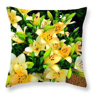Throw Pillow featuring the photograph Yellow Lilies 2 by Randall Weidner