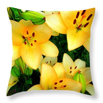 Throw Pillow featuring the photograph Yellow Lilies 3 by Randall Weidner