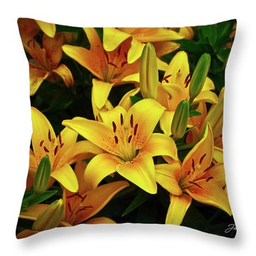 Throw Pillow featuring the photograph Yellow Lilies by Joann Copeland-Paul