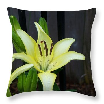 Yellow Lilly Throw Pillow