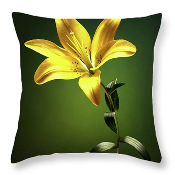 Yellow Lilly With Stem Throw Pillow
