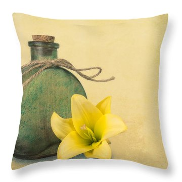 Yellow Lily And Green Bottle II Throw Pillow