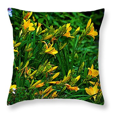 Throw Pillow featuring the photograph Yellow Lily Flowers by Susanne Van Hulst