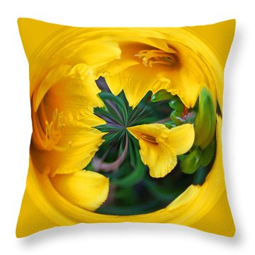 Throw Pillow featuring the photograph Yellow Lily Orb by Bill Barber