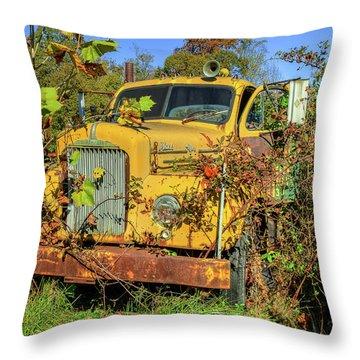 Yellow Mack Truck Throw Pillow