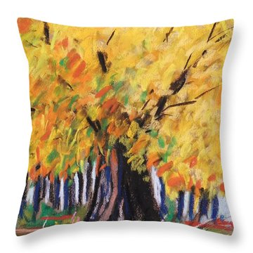 Throw Pillow featuring the painting Yellow Maple Wet Trunk by John Williams