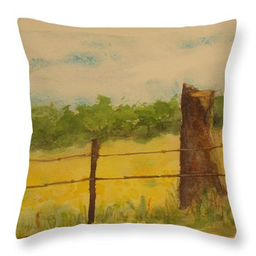 Throw Pillow featuring the painting Yellow Meadow  by Vicki  Housel