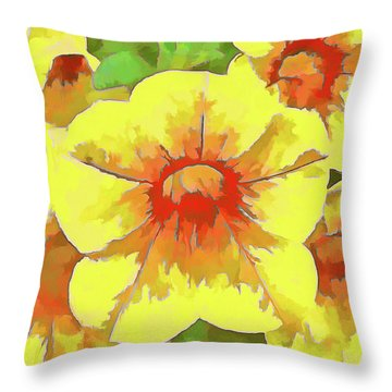 Yellow Million Bells Throw Pillow
