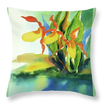 Throw Pillow featuring the painting Yellow Moccasin Flowers by Kathy Braud