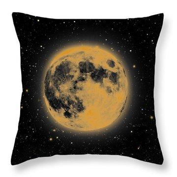 Yellow Moon Throw Pillow