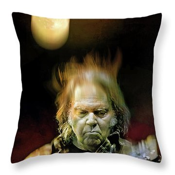 Yellow Moon On The Rise Throw Pillow by Mal Bray