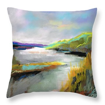 Throw Pillow featuring the painting Yellow Mountain by Frances Marino