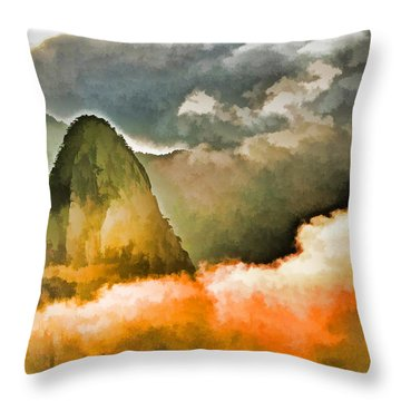 Yellow Mountain Mists Throw Pillow