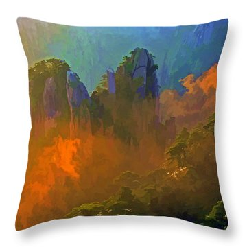 Yellow Mountain Sunrise Throw Pillow
