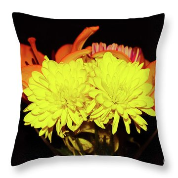 Yellow Mums And Orange Lilies  Throw Pillow