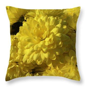 Yellow Mums Throw Pillow