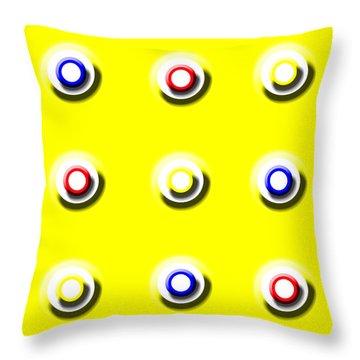 Yellow Nine Squared Throw Pillow
