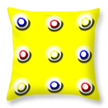 Yellow Nine Squared Throw Pillow