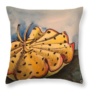 Yellow Nudibranch Throw Pillow
