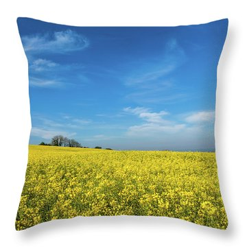 Yellow Oilseed Rape With Vivd Blue Sky Throw Pillow