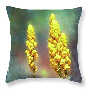 Throw Pillow featuring the photograph Yellow On Blue by Lewis Mann