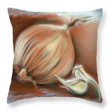 Yellow Onion And Sprouting Garlic Throw Pillow