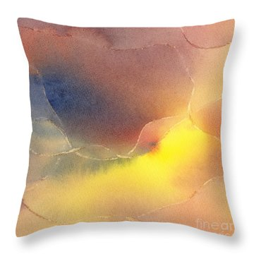 Yellow Orange Blue Watercolor Square Design 1 Throw Pillow by Sharon Freeman