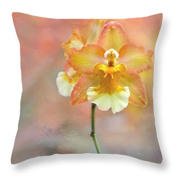 Throw Pillow featuring the photograph Yellow Orchid by Ann Bridges